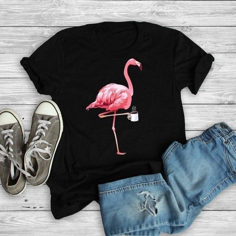 Flamingo Coffee Print T Shirt Women Short Sleeve O Neck Loose Tshirt Summer Women Tee Shirt Tops Camisetas Mujer hen chicken print t shirt women short sleeve o neck loose tshirt summer women tee shirt tops camisetas mujer