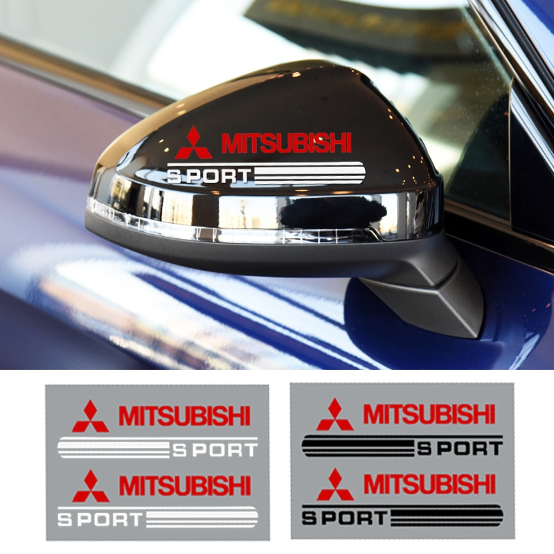 Pegatinas para espejo retrovisor de coche, accesorios para Mitsubishis ASX Lancer Pajero Outlander L200 EVO Lancer, 2 uds.