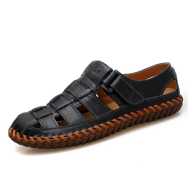 Brands Mens Sandals Real Leather Outdoor Summer Handmade Men Shoes Breathable Walking  Casual