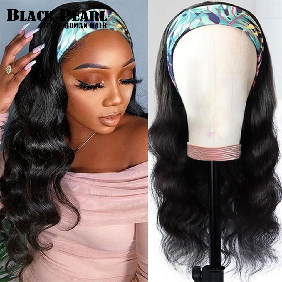 Black Pearl Body Wave Headband Wig Human Hair  Easy Half Wig Brazilian Remy Hair Headband Wig Natura