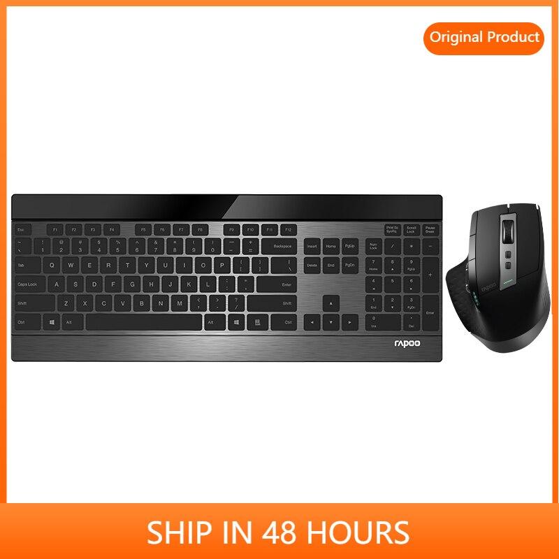Rapoo MT980s متعدد وضع لاسلكي سليم لوحة مفاتيح معدنيّة & قابلة للشحن ليزر ماوس كومبو بلوتوث 3.0/4.0 & 2.4G
