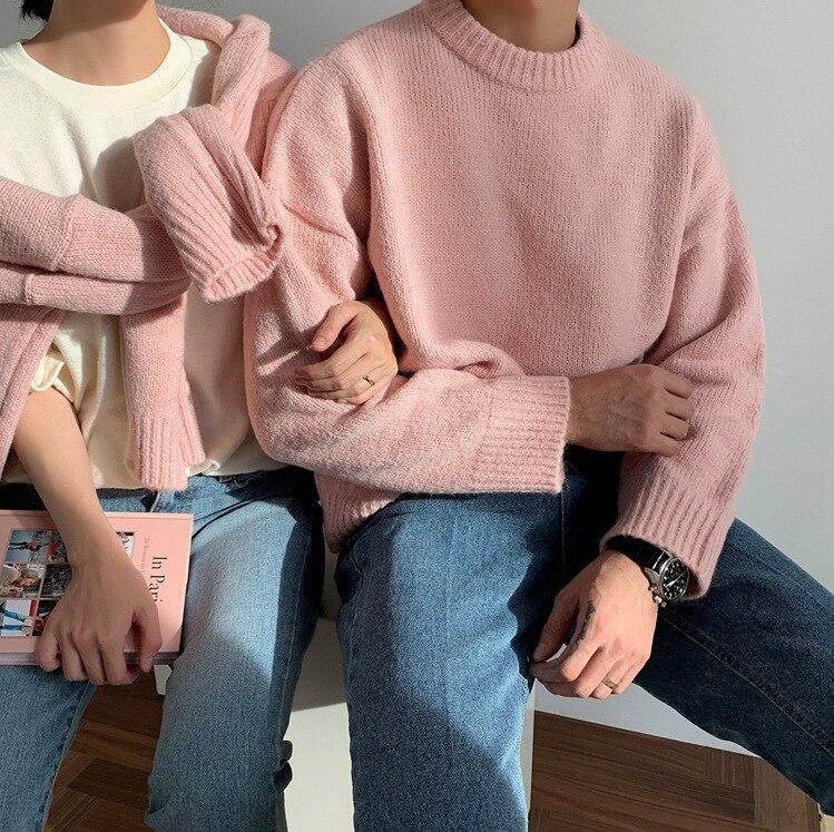 ملابس رجالية الياقة المستديرة سترة 2021 خريف شتاء موضة الكورية نمط حجم كبير فضفاض محبوك كم طويل بلايز