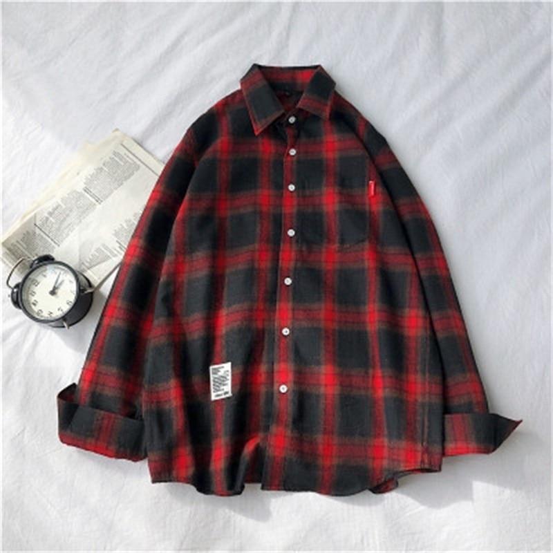 Рубашка мужская с длинным рукавом, красная/черная, приталенная, в клетку