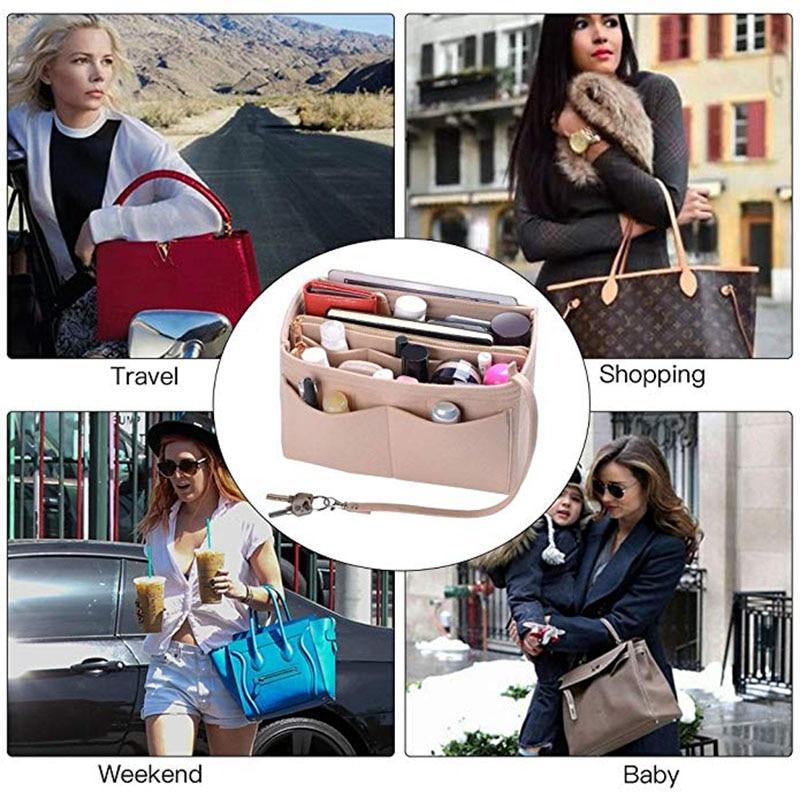 Felt Cloth Handbag Insert Bag Makeup Organizer Travel Portable Cosmetic Bags Storage Bag Inner Purse Fits in Speedy Neverfull