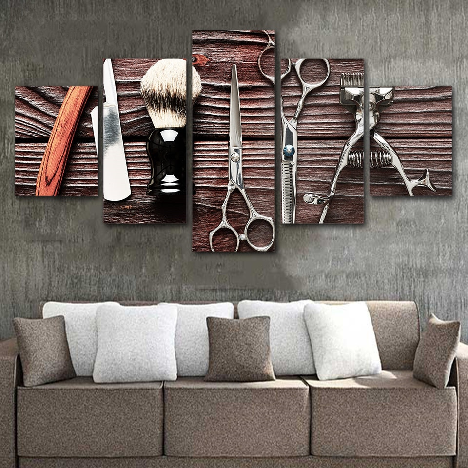Póster moderno para decoración del hogar con imágenes artísticas de pared, póster para peluquero, 5 paneles, pósteres para peluquería, marco de pintura en lienzo impreso en HD