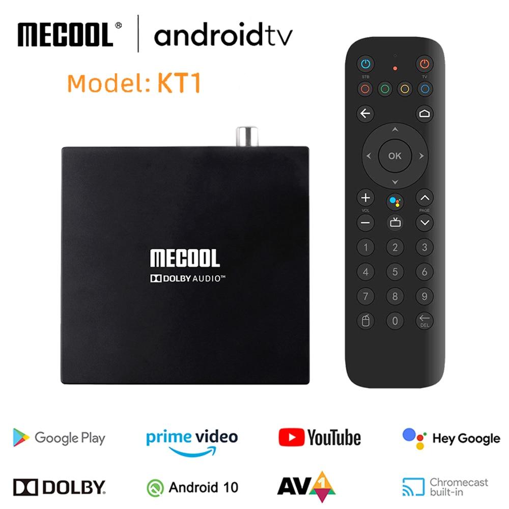 Mecool KT1 DVB-S2 Amlogic S905X4 AV1 مربع التلفزيون الذكية 2GB 16GB أندرويد 10.0 ATV 2.4G 5G واي فاي بلوتوث 4K HD دولبي مجموعة صندوق