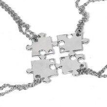 4 Pieces / Set Alloy Men's and Women's Pendants Necklace Friend Puzzle Friendship Pendants Necklace Family Jewelry Gift