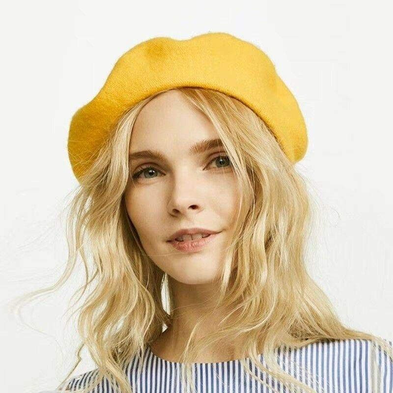 French Style Vintage Unisex Women Men Wool Warm Plain Beret Beanie Hat Cap Hot Selling Dropshipping