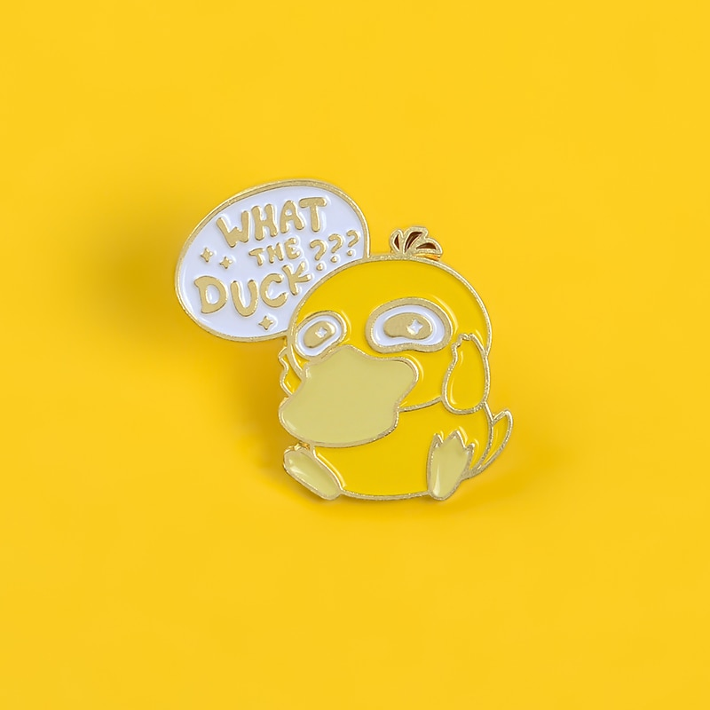 Amarillo pato dibujos animados esmalte pin broches para mujeres que piensa animal insignia Linda decoración solapa pin ropa mochila joyas regalos