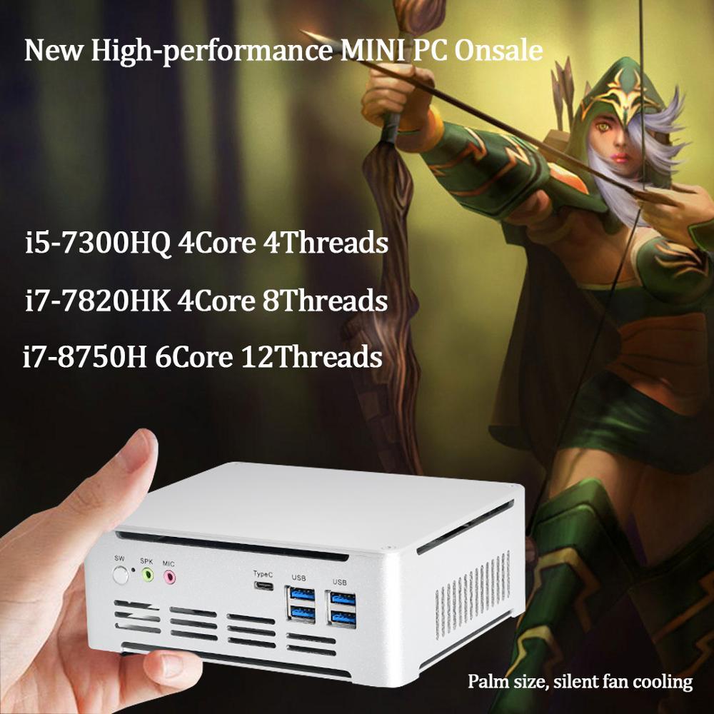 Newest IntelCore 7th Gen Mini PC i5 7300HQ/i7 7820HK Intel UHD630 win10 4Core 8 Threads 2.4G+5G+Bluetooth NUC Freeshipping  pc