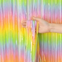 color macaron foil fringe tinsel curtain birthday wedding party decoration anniversary photography backdrop curtains photo props