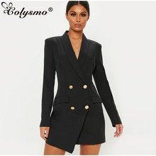 Colysmo Elegant Women Dress 2019 Autumn Winter Turn-down Collar Double Breasted Pocket Blazer Dress Office Casual Blazer Green