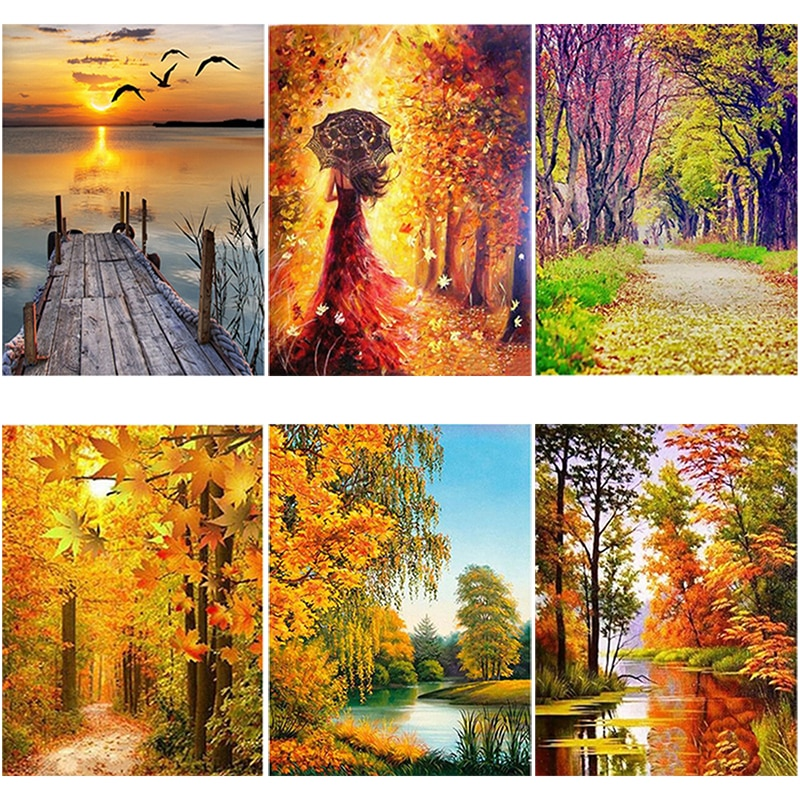 DIY 5D Diamond Painting Autumn Landscape Tree Diamond Embroidery Cross Stitch Patterns Lake Full Round Drill Art Wall Home Decor