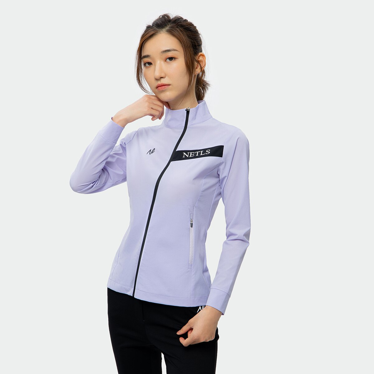 Autumn ladies golf sports jacket, fashionable style with diagonal zipper,golf wear for women