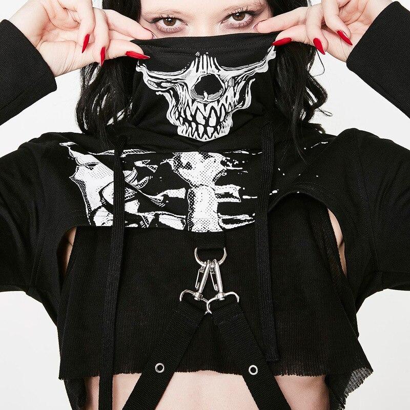 Goth Dark schädel print skeleton hoodies langarm t-shirt turtlenek punk stil hüfte frauen kette crop top kühlen streetwear T-shirts