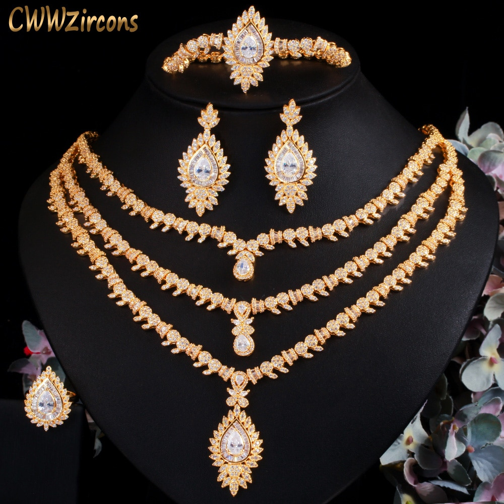 Cwwzans 4 قطعة زركون تمهيد الأفريقي دبي الذهب اللون الكبير قلادة فاخرة طاقم حلي نسائية اكسسوارات الزفاف T510