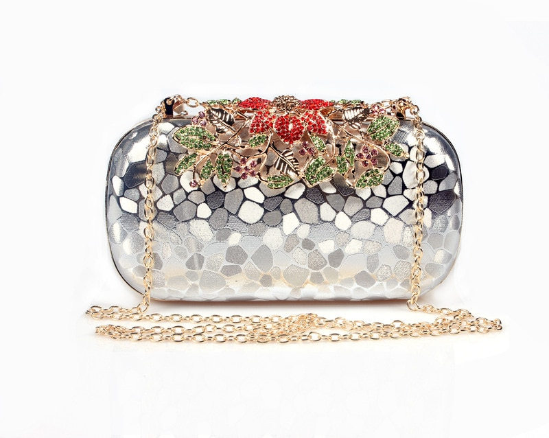 New women fashion Diamond Leather golden Evening Bag female red Banquet handbag for cocktail party Silver Bridal Clutch purse