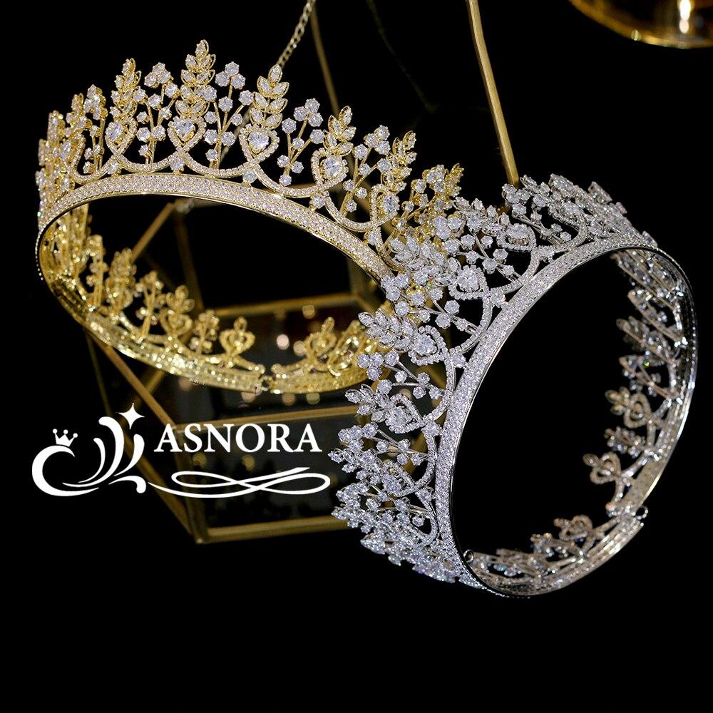Luxury Large Round Tiaras Wedding Parade Headdress Adult Ceremony Accessories Princess Birthday Crown Bride Crown