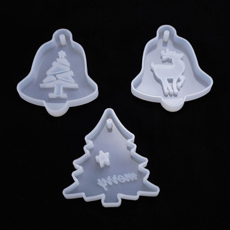 6Pcs/Set Resin Crystal Epoxy Mold Christmas Tree Elk Pendant Casting Silicone Mould DIY Crafts Decoration Making Tool