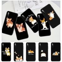 cute cartoon corgi dog black matte mobile phone case cover for redmi s2 4x 5 5a plus 6 6a 7 7a 8 8a 9 9a