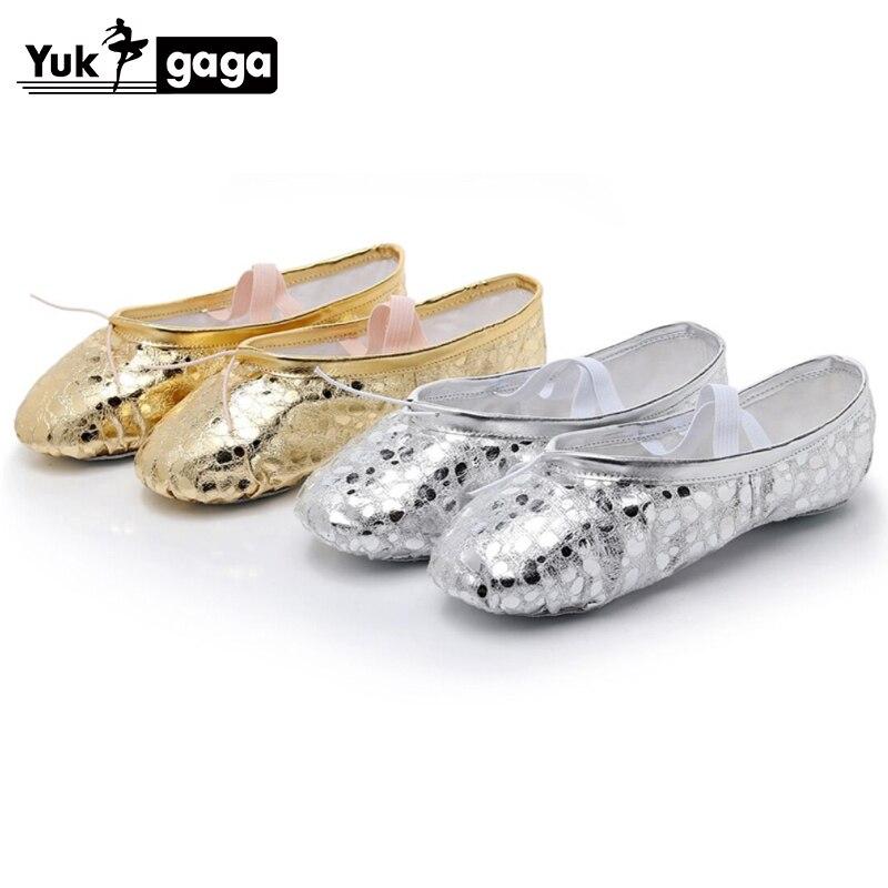 Yukigaga  PU Top Gold Soft Indian women Belly Dance Shoes Leather Belly Ballet Dance Shoes Children Girls Woman a03e
