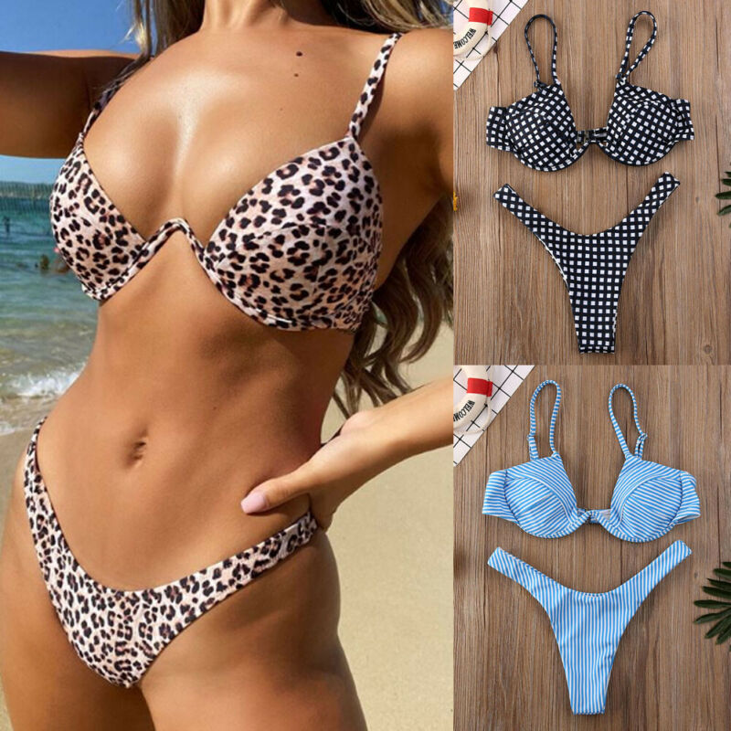 Sommer Leopard Bikini Frauen Push-up Bademode Padded Bh Schwimmen anzug Beachwear-badeanzug