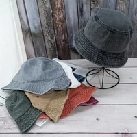 womens denim bucket hat foldable washable fisherman hats unisex street trend caps solid color flat bucket hats decorative cap