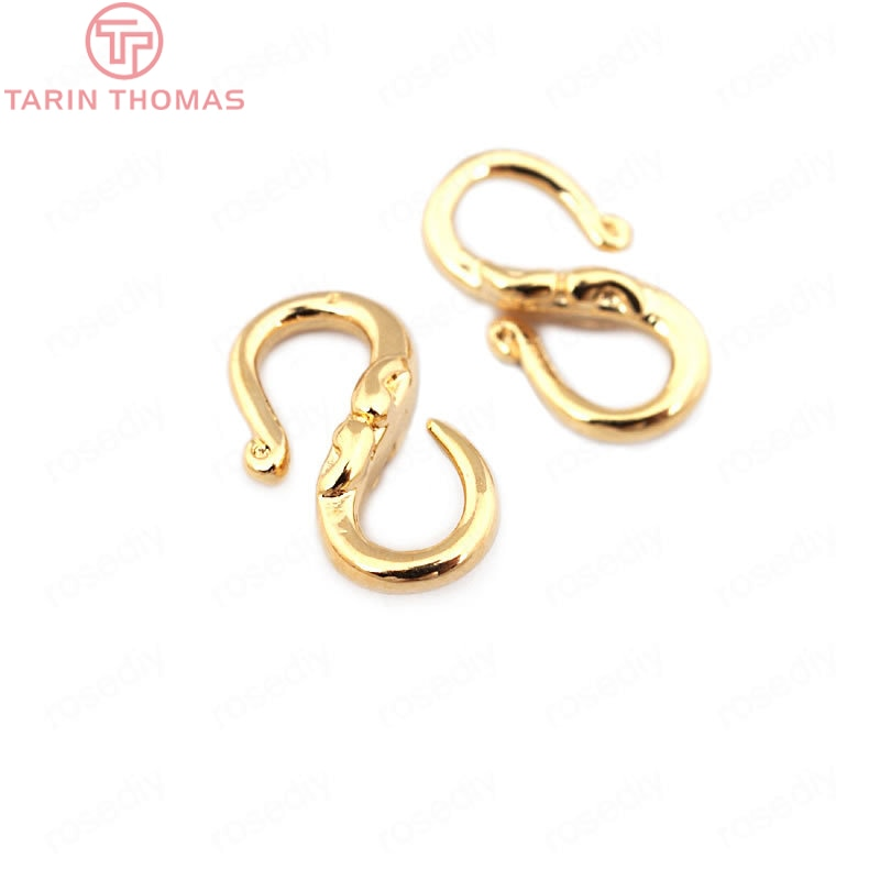 (33601)10PCS 13*7MM 24K Gold Color Brass S Shape Necklaces Bracelets Clasps High Quality Diy Jewelry Findings Accessories