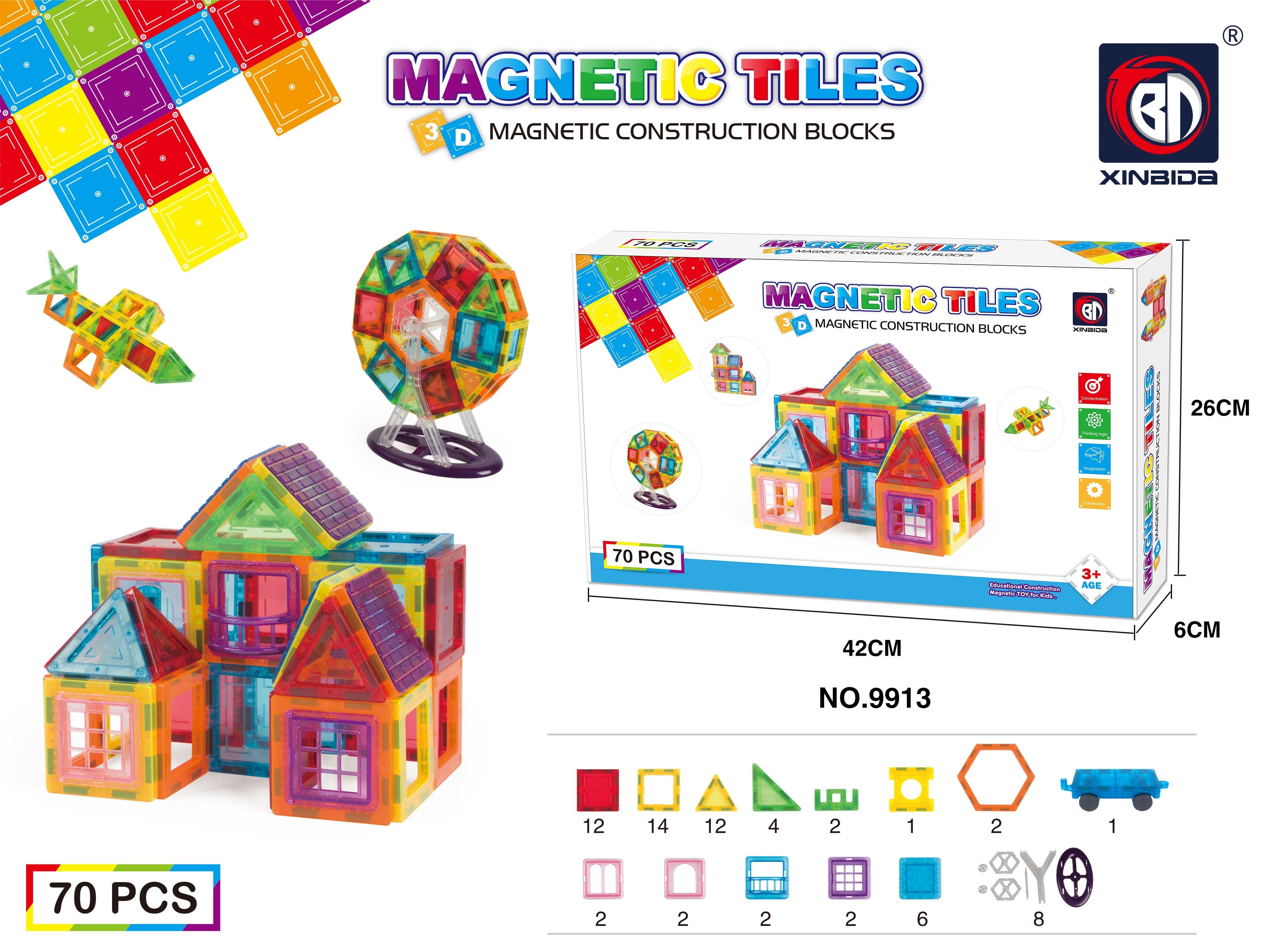 Gran oferta ABS 70 Uds bloques de construcción azulejos magnéticos construcciones magnéticas bloques azulejos juguetes de plástico