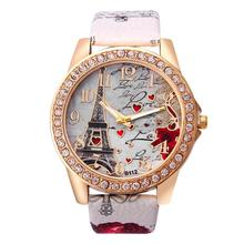 Zegarek Tower Pattern Women Watch Leather Band Alloy Diamond Case Watch for women Analog Quartz Vo