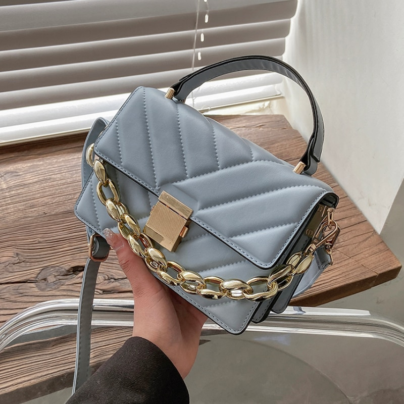 Thick Chain V-line Crossbody Bag Women 2021 Fashion Sac A Main Female Shoulder Bag Female Handbags and Purses with Handle