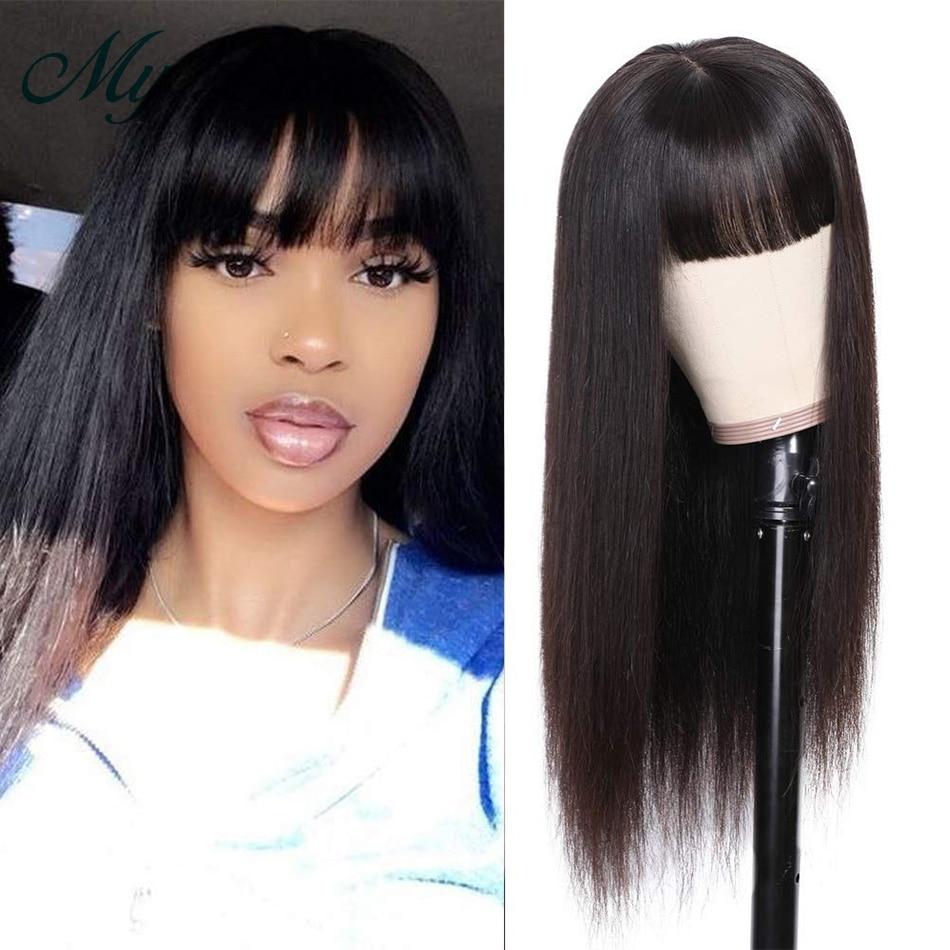 perucas de cabelo humano com franja perucas de franja de cabelo longo barato perucas