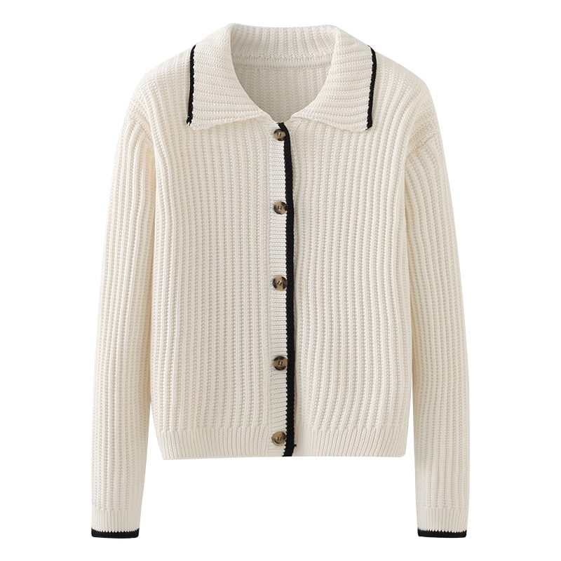 Painting Style Drawwind Cardigan Knitted Coat Female Solid Color Polo Collar Vertical Pattern Fashio