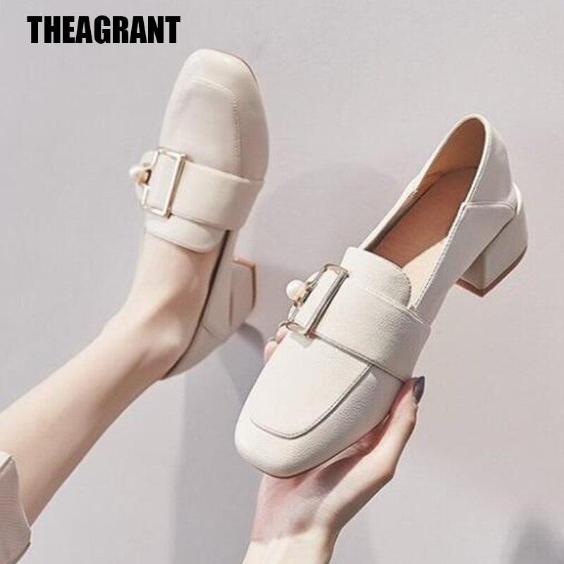 Theagrant 2020 sapatos de moda mulher apartamentos couro plutônio dedo do pé quadrado outono sapatos de inverno feminino salto grosso deslizamento em senhora mocassins wfs2045
