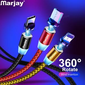 Marjay, магнитная зарядка зарядное устройство, магнитный кабель Micro USB кабель для iPhone, samsung, Android, быстрая зарядка, магнит, usb type-C кабель, шнур для м...