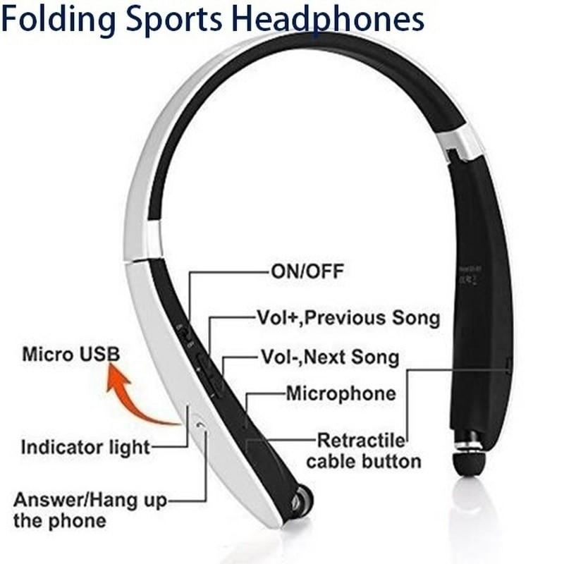 Lo más nuevo, auriculares inalámbricos Bluetooth 4,1, retráctiles y plegables, estilo de banda para el cuello, auriculares