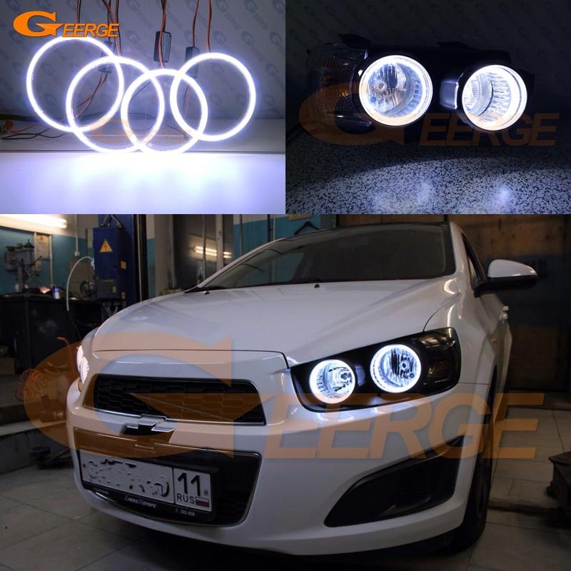 Excelente cob led angel eyes kit anéis de auréola ultra brilhante para chevrolet aveo sonic t300 2011 2012 2013 2014 2015 pré facelift