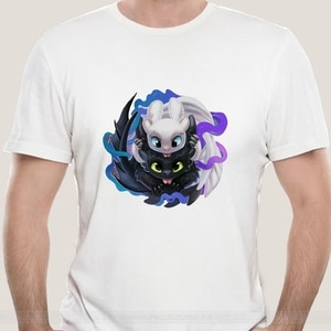 How to Train Your Dragon funny anime  summer new white Casual 2021 t-shirt Toothless and Light Fury femme