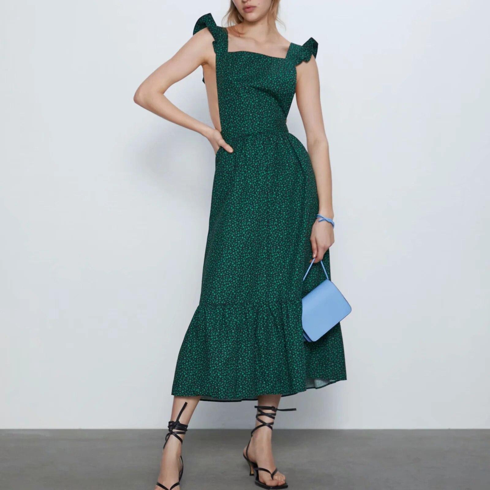 ZA women dress green floral print ruffled sexy hollow out vest chic ladies elegant female maxi dress