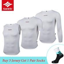 Santic respirant hommes sous-vêtements de cyclisme Qucik sec Sport gilet à manches courtes/longues Jersey vtt vélo de route équitation T-shirt couches de Base