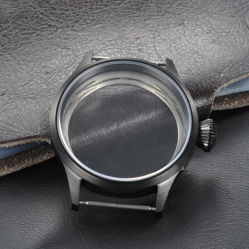 Caja de reloj 43mm 316 carcasa de acero inoxidable PVD negro apto para movimiento ETA UNITAS 6497/6498, fundas de cristal de zafiro para relojes de hombre