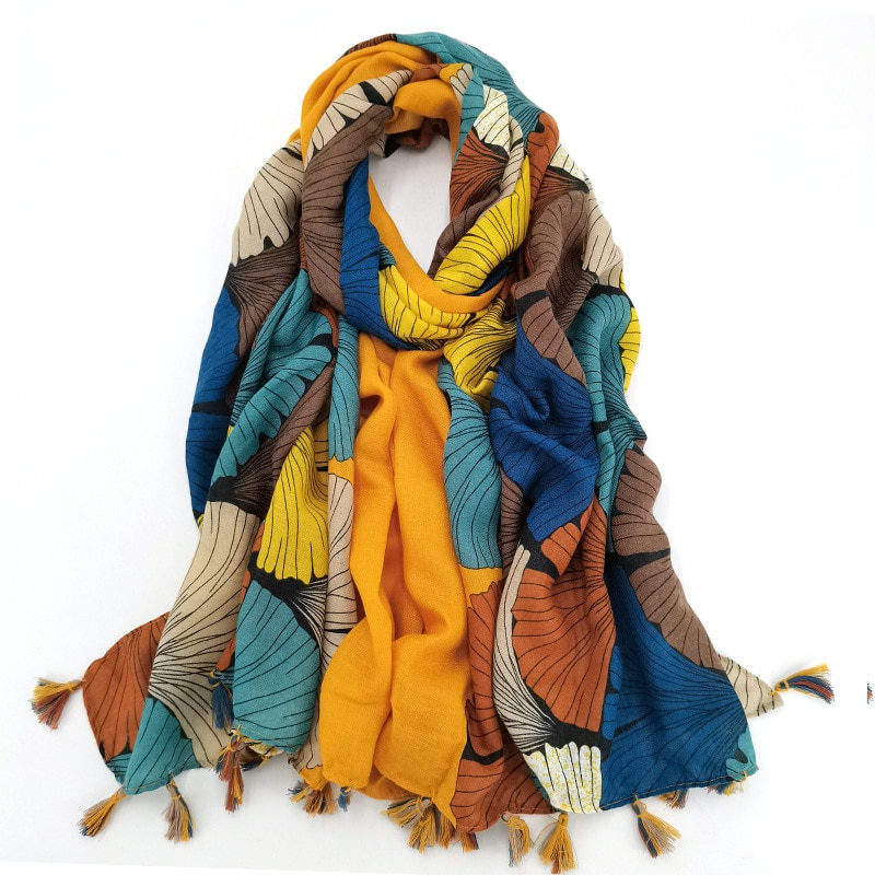 AliExpress - Fashion Gold Ginkgo Biloba Petal Floral Tassel Viscose Shawl Scarf High Quality Wrap Pashmina Stole Bufandas Muslim Hijab Sjaal