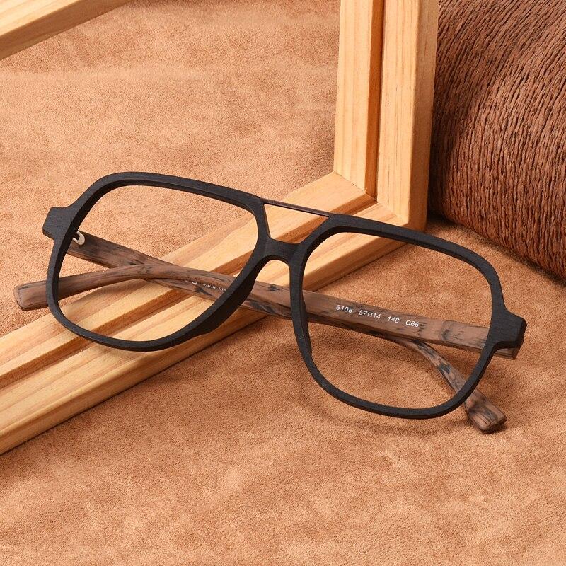 Evove monturas de gafas para hombres acetato de gran tamaño de madera falsa Vintage gafas de hombre de gran tamaño gafas de empollón cuadrado
