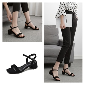 BaoYaFang 2020 Summer Sandals Open Toe Women Thick Heel Fashion shoes woman Black Gray Ankle Strap sandals Buckle Shoes Female