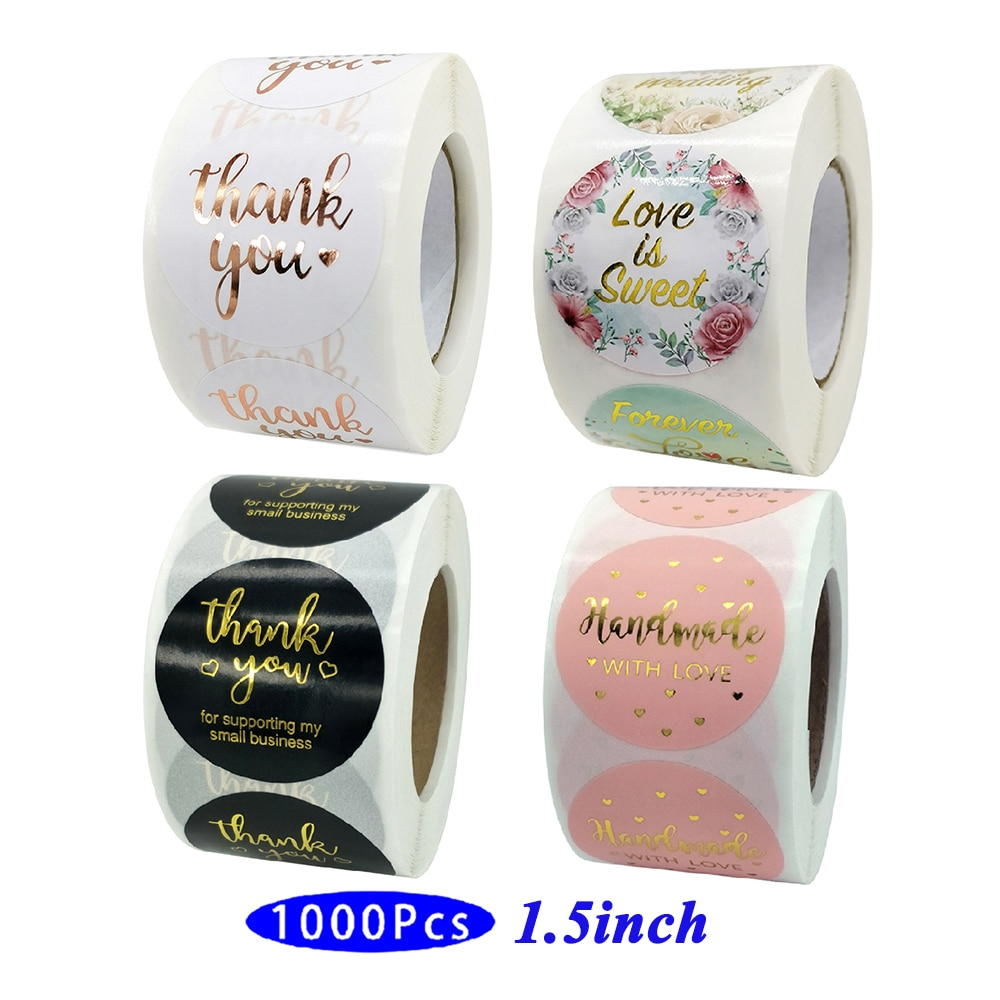 1.5'' 1000Pcs Creative Cute Holographic Gold Love Thank You Stickers Supporting My Small Business Aesthetic Scrapbook Seal Label