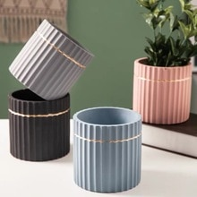 Moule bricolage béton plante silicone   Succulente plante pot, moule cylindrique à rayures design, pot de ciment, moule vase de plâtre en argile de style nordique