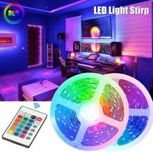 RGB LED Strip Light decorazione flessibile lampada a diodi String telecomando per camera da letto sfondo TV nastro illuminazione USB Decor