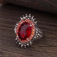wish hot sale silver accessories vintage thai silver big gem ring ring pomegranate jewelry exaggerated black ore ring