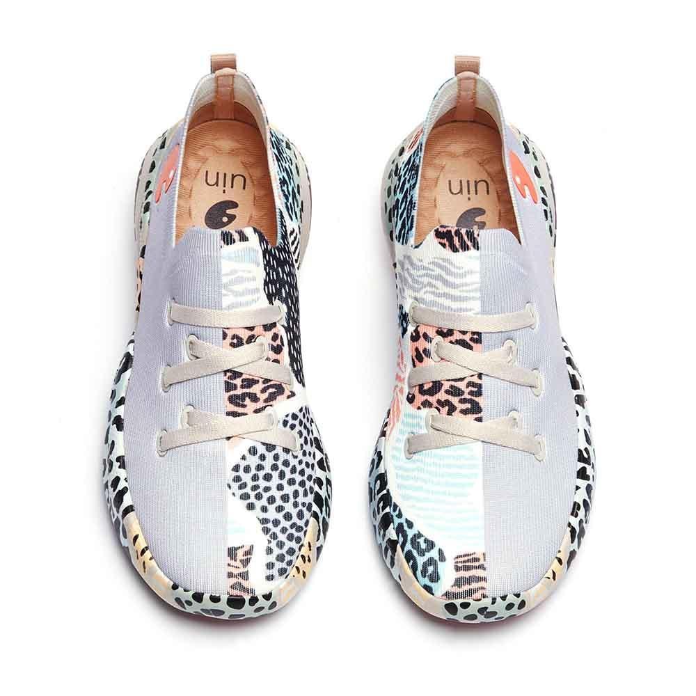 UIN المرأة أحذية رياضية خفيفة الوزن المشي الانزلاق عادية Ons مريحة الفن رسمت رياضية أحذية السفر