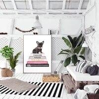 Toile de peinture danimaux  affiches droles de chiens et de livres  tableau dart mural pour decoration de salon  decoration de maison